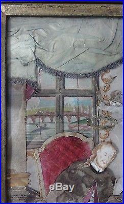 Stoffcollage Papierschnitt Klosterarbeit 18. Jh Johannes Nepomuk Königin Beichte