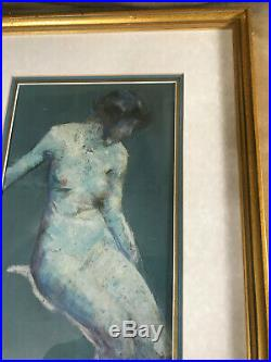 Stunning Antique Nude Female Scene Mixed Media Painting Signed And Framed