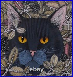 Stunning Painting By Helen Mortley Of Black Cat Amongst Brambles, Animals, Cats