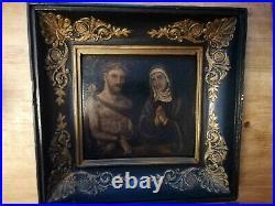 TRAUMHAFT SCHÖNES ALTES ÖLG MARIA u. JESUS um 17. Jht