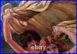 Tolles sig. Jugendstil-Ölgemälde Der Tanz um 1915