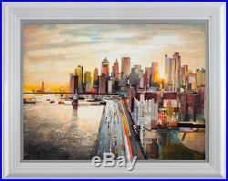 Tom Butler'Sunset, Big Apple' Original Mixed Media on Board, 48 x 36, COA