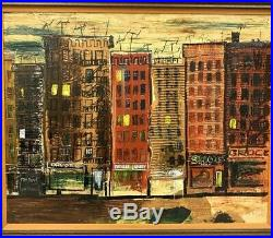 Tony Dilluci Original Oil On Canvas New York City Street Scene Mixed Media 1964
