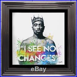 Tupac Changes Art Framed Liquid Artwork and Swarovski Crystals
