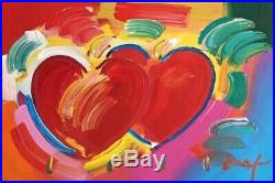 Two Hearts as One, Mixed Media Painting, Peter Max SIGNED with COA