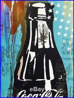 UNIKAT -Michel Friess Acryl + Mixmedia auf Leinwand Coca Cola 60x120 cm
