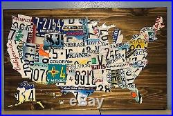 USA License Plate Map Hand Made From Real Plates From Each State 37x23
