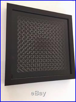 Vasarely beautiful lithography 1973 OP art Framed with museum glas