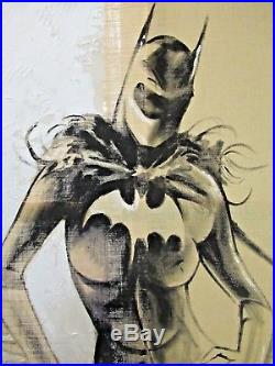 Very Large Mauro Rosso Batgirl Standing Mixed Media On Canvas / Painting /Art