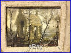 Vintage 1964 George Snow Hill Signed Mixed Media Art on Board Breton Scene