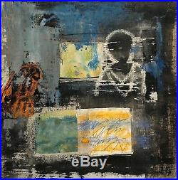 Vintage Abstract Expressionist Modernist Mixed Media Painting Figure Portrait