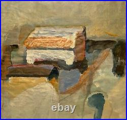 Vintage Abstract Expressionist Modernist Mixed Media Painting Study On Paper