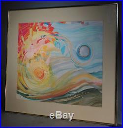 Vintage Abstract Painting Mixed Media Mid Century Modern Elise Pike Lerman 1970