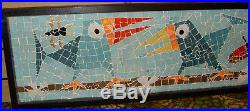 Vintage Evelyn Ackerman Era Mosaic Tile Wall Art Toucans Possible Studio Piece