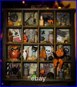 Vintage Halloween Shadow Box Assembledge Shelf of Curiosity Apothecary Decor
