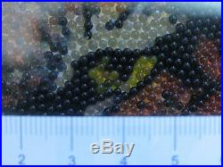 Vintage Incredible Fine Micro Glass Marbles Mosaic Wall Art Tiger Portrait