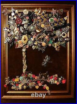 Vintage Jewelry Art Tree, Framed & Signed