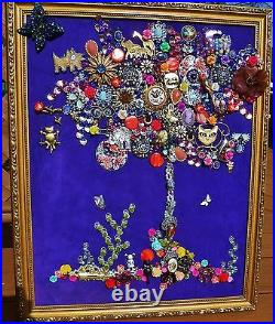 Vintage Jewelry Art Tree of Life, Framed & Signed