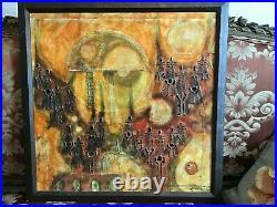 Vintage Mexican Brutalist Mixed Medias Painting by Gimenez Nunez Mexico 1973