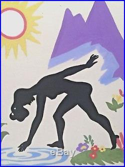 Vintage Mixed Media Abstract Modernist Nude Figure Study Original Painting