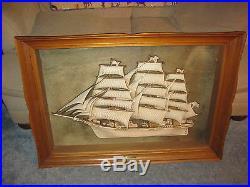 Vintage Turner Mfg Wall Art Nautical Ship Flying Cloud 1850 Beautiful