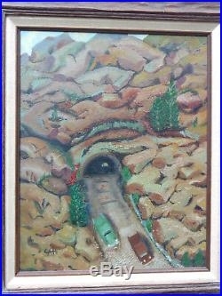 Vintage WPA New Mexico Rock Tunnels Cars Landscape Oil Painting mixed media dirt