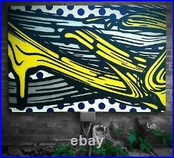 Voyder'V' spray paint on canvas, Bristol urban art / Lichtenstein brush strokes