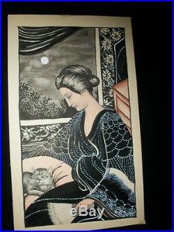 Vtg. JOSEF KOZAK Original DRAWING/PAINTING Lady In Waiting w Cat Signed Unframed
