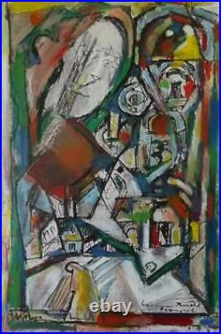 WALTER FIRPO 1903-2002 Cubist Mixed Media Painting 1960's THE HOLY MOTHER