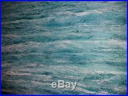 WAVES-Acrylic Mixed Media Painting Large Abstract Waves Water Sea Ocean Coast