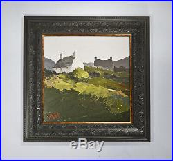 Welsh Landscape Painting of Cottages by A Hudson Kyffin Williams Influence